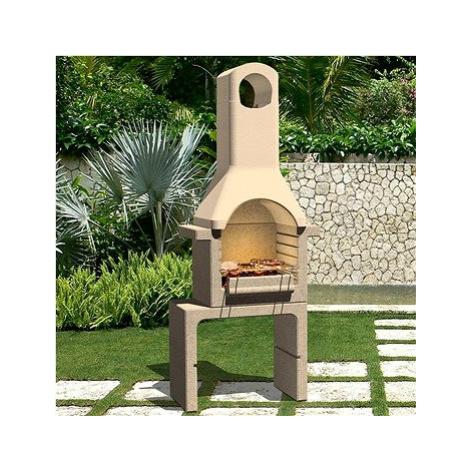 Zahradní betonový gril na dřevěné uhlí s komínem SHUMEE