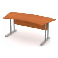 Stůl pracovní zaoblený - kovová podnož Černá bez výplně, Záda-dekor desky