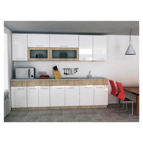Kuchynská linka Nebraska 260cm, sonoma/bílý lesk + pracovní deska ARK