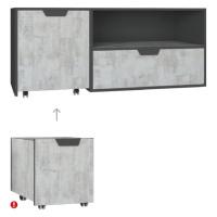 Meblar Televizní stolek NA10 NANO Meblar 120/45/50 Barva: grafit-enigma