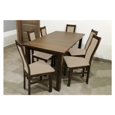 Jídelní set jídelní set agáta - 6x židle, 1x rozkládací stůl (wenge/látka)