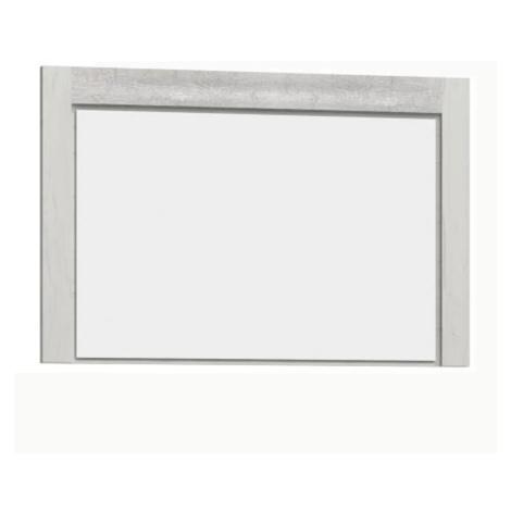 Masivní zrcadlo na zeď z bílého jasanu s kovovými úchyty a výraznou reliéfní kresbou TK210 Tempo Kondela