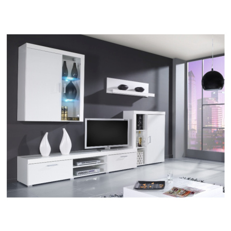 SAMBA A, obývací stěna, bílá/bílý lesk CAMA