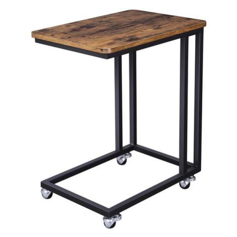 Sconto Přístavný stolek EVORA matná černá, rustikální hnědá