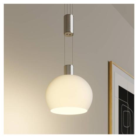 Lindby Lindby Aurell LED závěs. světlo, sklo, 1žár., nikl