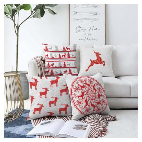 Sada 4 vánočních žinylkových povlaků na polštář Minimalist Cushion Covers Reindeer, 55 x 55 cm