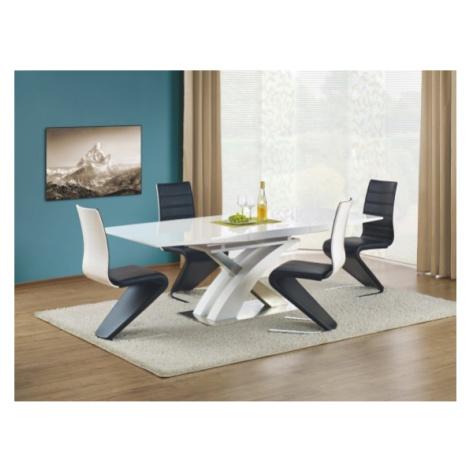 Jídelní stůl jídelní stůl sandor rozkládací 160-220x90 cm (bílý lak/stříbrná) Halmar
