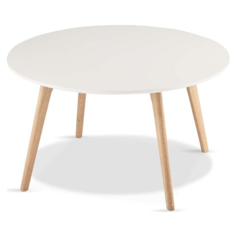 Bílý konferenční stolek s nohami z dubového dřeva Furnhouse Life, Ø 80 cm