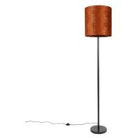 Stojací lampa černá velurová odstín oranžová 40 cm - Simplo