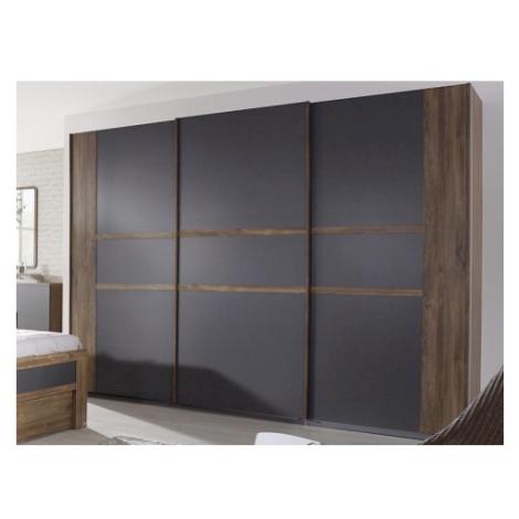Šatní skříň Bernau, 271 cm, dub stirling/šedá, posuvné dveře ASKO - NÁBYTEK