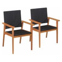 Zahradní jídelní židle 2 ks černá / hnědá