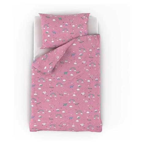 Bavlněné povlečení do dětské postýlky Obláčky růžové Kvalitex