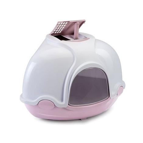 IMAC Krytý kočičí záchod rohový s filtrem 52 × 52 × 44,5 cm růžový