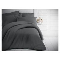 Francouzské jednobarevné bavlněné povlečení 220x200, 70x90cm tmavě šedé