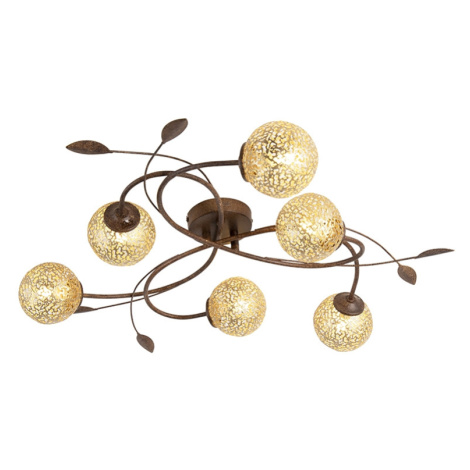 Venkovské stropní svítidlo 6 světel v rezavě hnědé barvě - Kréta Paul Neuhaus