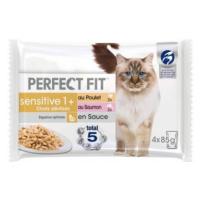 Perfect Fit Sensitive Sterilise Adult 1+ - kuřecí a losos v omáčce (52 x 85 g)