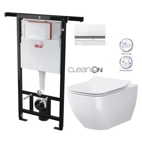 ALCAPLAST Jádromodul předstěnový instalační systém s bílým/ chrom tlačítkem M1720-1 + WC CERSANI