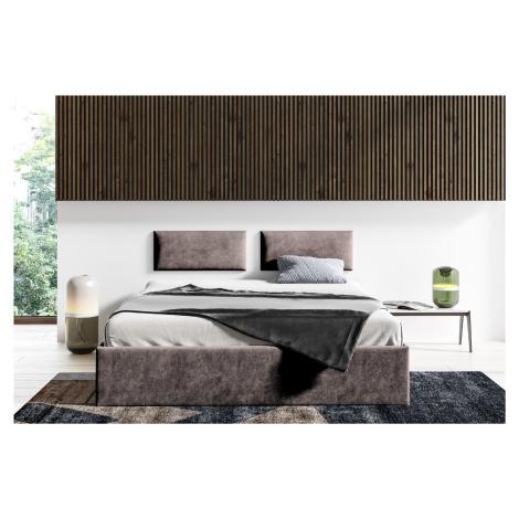 Čalouněná postel Lucy - 160x200 cm Barva látky Trinity: (2308) Tmavá hnědá