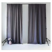 Tmavě šedý lněný závěs s tunýlkem Linen Tales Night Time, 250 x 140 cm