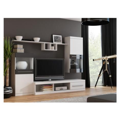 Nick - obývací stěna (bílá/bílá,černá lesk) Halmar