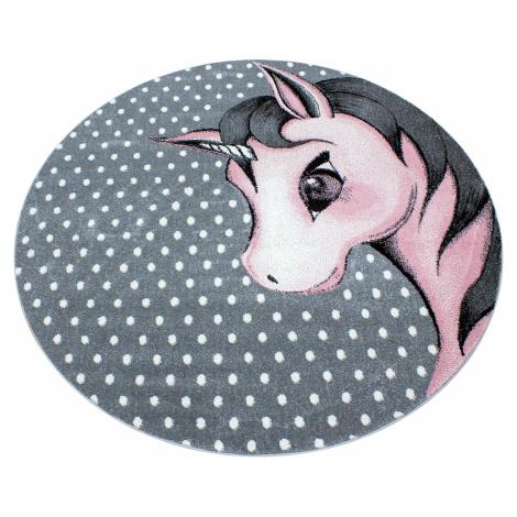 Dětský kusový koberec Kids 590 Pink jednorožec   růžový Typ: kulatý 160 cm Ayyildiz