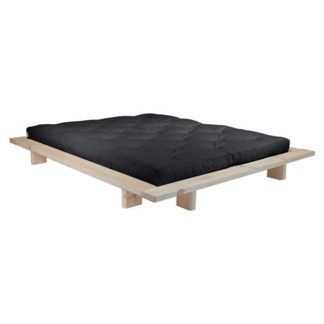 Dvoulůžková postel z borovicového dřeva s matrací Karup Design Japan Double Latex Raw/Black, 140