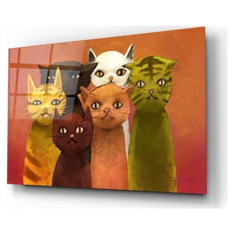 Skleněný obraz Insigne Cartoon Cats, 72 x 46 cm