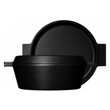 Multifunkční litinový hrnec 3,5l s pánví na smažení (průměr 28 cm) | Černá Morso