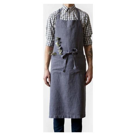Tmavě šedá lněná zástěra Linen Tales Chef, délka 100 cm