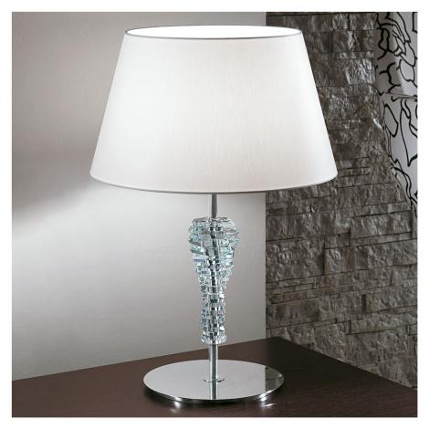 Lam Velká textilní stolní lampa Crystal bílá