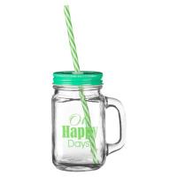 Sklenice se zeleným víčkem a brčkem Premier Housewares Happy Days, 450 ml
