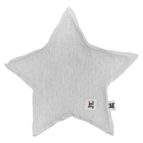 Šedý dětský lněný polštář ve tvaru hvězdy BELLAMY Stripes