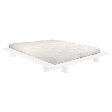 Dvoulůžková postel z borovicového dřeva s matrací Karup Design Japan Double Latex White/Natural,