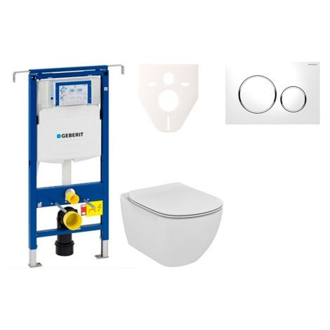 Závěsný set WC Ideal Standard Tesi + modul Geberit Duofix Speciál s tlačítkem Sigma 20 (bílá/chr