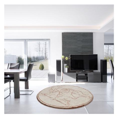 RÝBRCOUL - Kruhová předložka ø 80 cm, béžová Grund
