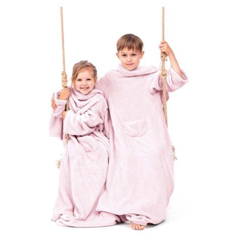 Růžová dětská televizní deka s rukávy DecoKing Lazykids