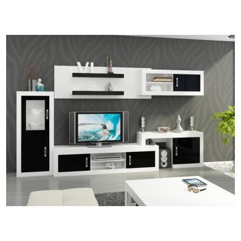 Obývací stěna VERIN 5, bílá/černý lesk MORAVIA FLAT