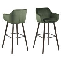 Dkton Designová barová židle Almond lesnická zelená