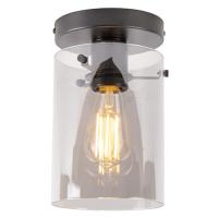 Designové stropní svítidlo černé s kouřovým sklem - Dome