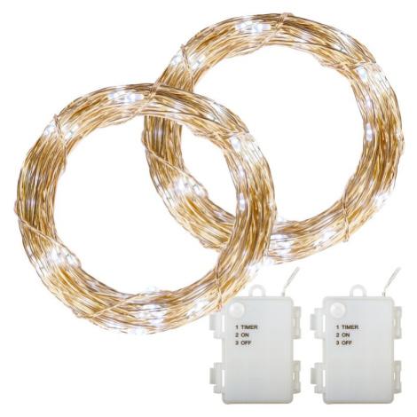 VOLTRONIC M68024 Sada 2 kusů světelných drátů - 50 LED, studená bílá VOLTRONIC®