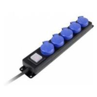 Zásuvková lišta AS Schwabe, 38605, 5 zásuvek, IP44, černá/modrá