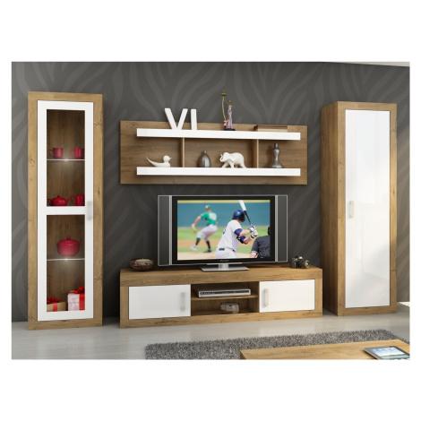 Obývací stěna VERIN 4, dub burgundský/bílý lesk MORAVIA FLAT