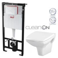 ALCAPLAST Sádromodul předstěnový instalační systém bez tlačítka + WC CERSANIT CLEANON CARINA + S