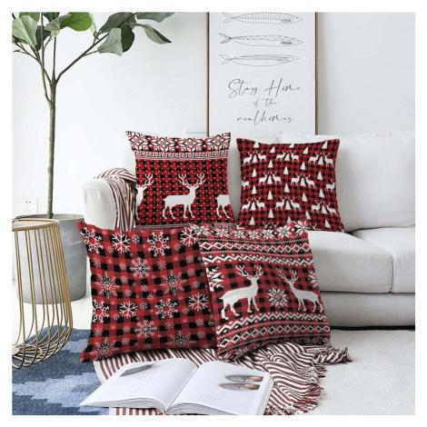 Sada 4 vánočních žinylkových povlaků na polštář Minimalist Cushion Covers Tartan, 55 x 55 cm