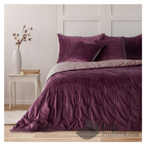 TOP Oboustranný prošívaný přehoz na postel DAISY 220x240 - Fialovo-růžový TopProsteradla