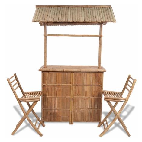 Zahradní barový set se stříškou 3ks bambusový