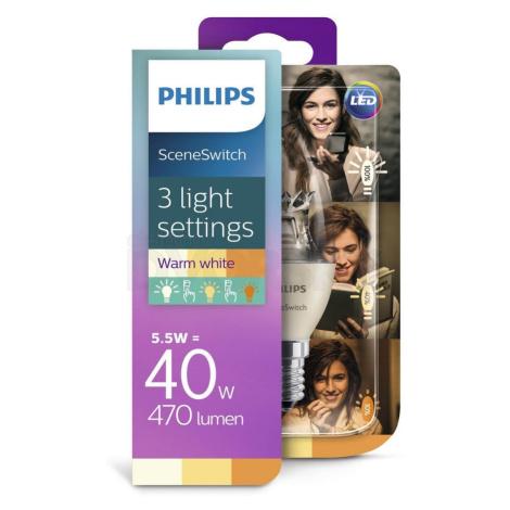 Philips LED Žárovka Philips SCENE SWITCH B38 E14/5,5W/230V 2200K