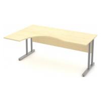 Stůl pracovní rohový vykrojený - kovová podnož Levý, 140 cm, Šedá bez výplně, Záda-dekor desky,