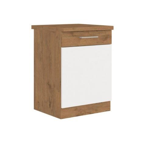 Dolní kuchyňská skříňka Vigo 60D1F, dub lancelot/bílý lesk, šířka 60 cm ASKO - NÁBYTEK