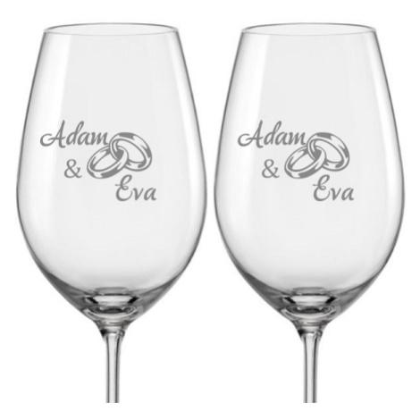Svatební skleničky na víno Prstýnky s datem svatby na dýnku, 2 ks